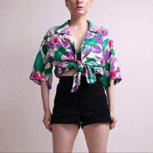 Vintage Tops - Vintage 80s tropical Hawaiian button down shirt